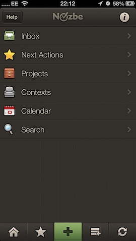 Nozbe iOS screenshot