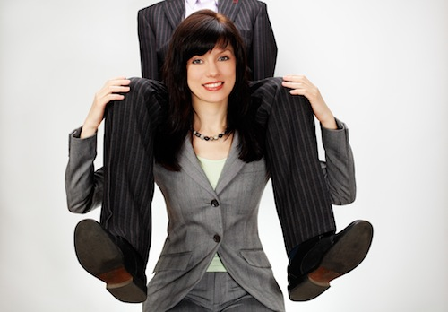 Productivity image of man on woman's shoulders